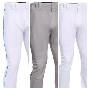 Baseball Under Armour Pant Open Bottom Gray White